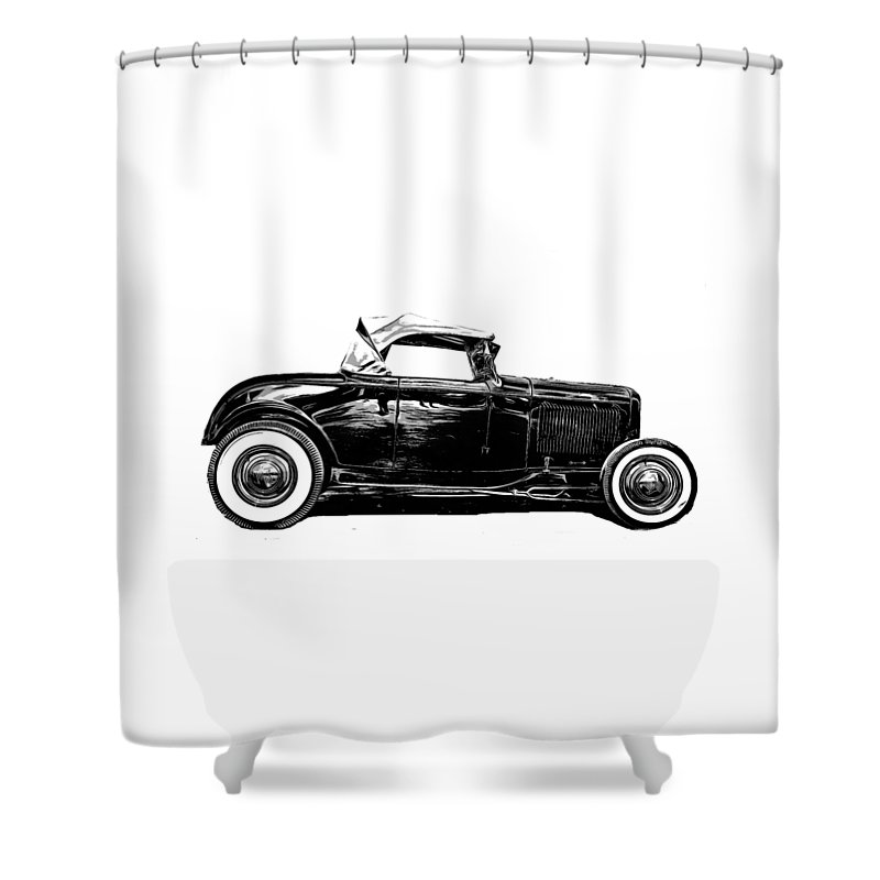 Ford Shower Curtain Featuring The Drawing Hot Rod Tee By Edward Fielding