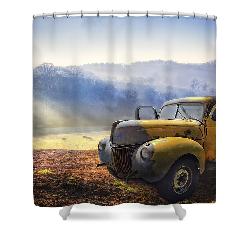 Appalachia Shower Curtain featuring the photograph Ford In The Fog by Debra and Dave Vanderlaan