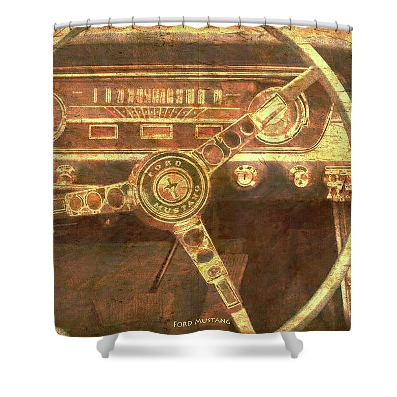 Ford Mustang Convertible On Stone For Man Cave Shower Curtain Sale By Drawspots Illustrations