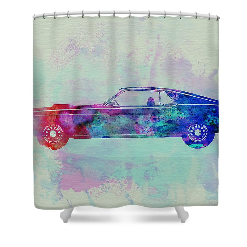 Ford Mustang Shower Curtain Featuring The Painting Watercolor 1 By Naxart Studio