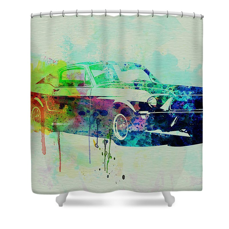 Ford Mustang Shower Curtain Featuring The Painting Watercolor 2 By Naxart Studio