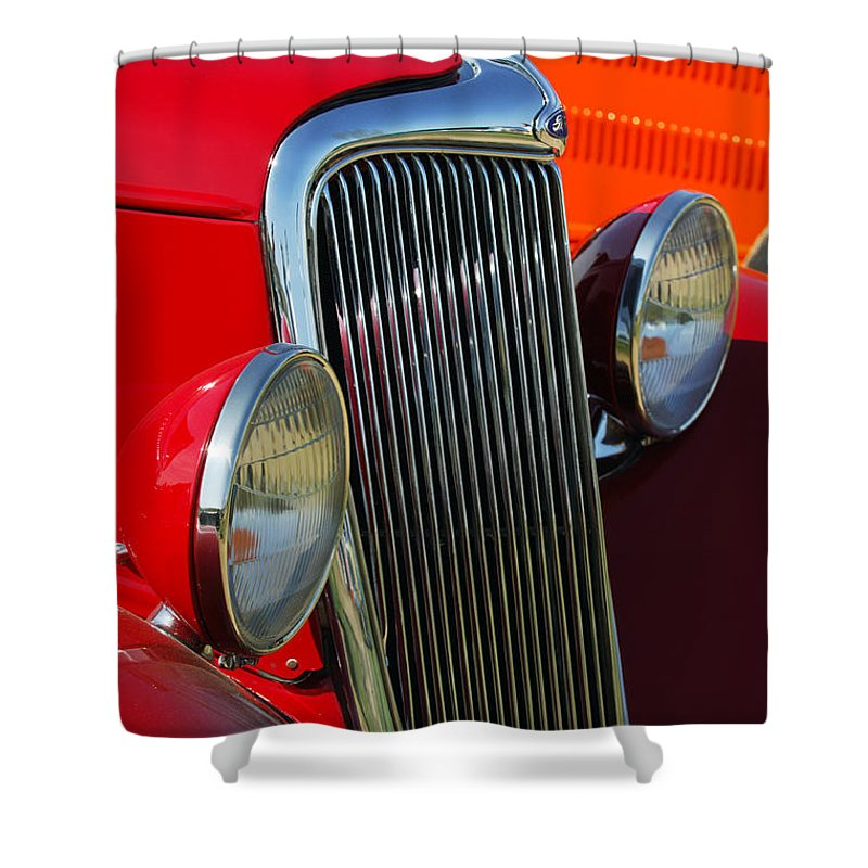 Car Shower Curtain featuring the photograph Ford Roadster Grille by Jill Reger