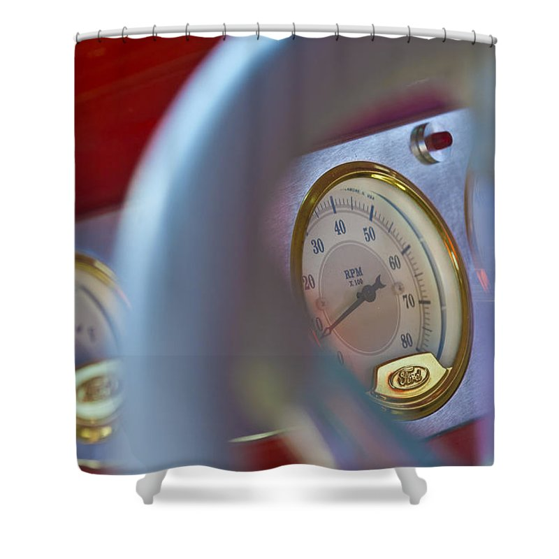 Ford Speedometer Shower Curtain featuring the photograph Ford Speedometer by Jill Reger