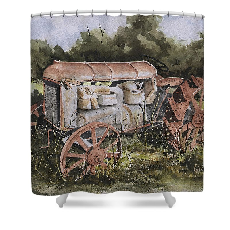 Farm Shower Curtain featuring the painting Fordson Model F by Sam Sidders