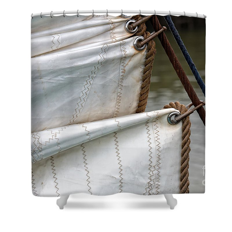 Adventure Shower Curtain featuring the photograph Foresail Vintage Sail Ship by Jan Brons