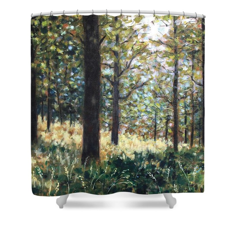 Landscape Shower Curtain featuring the painting Forest- County Wicklow - Ireland by John Nolan