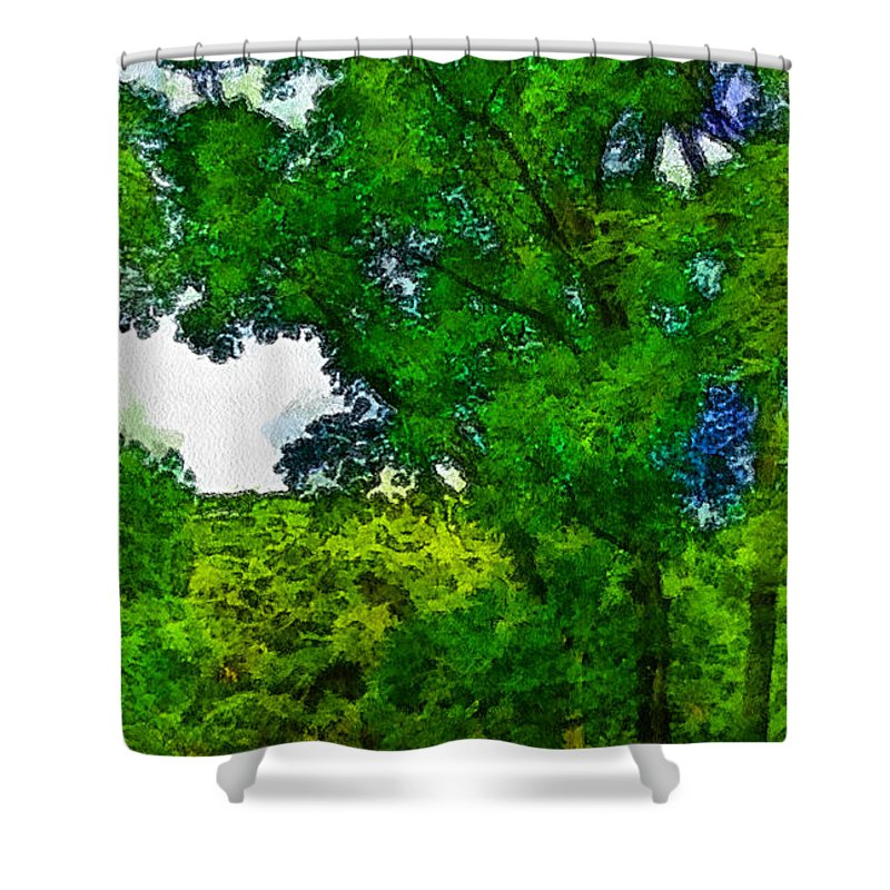 Forest Shower Curtain featuring the photograph Forest Home by Galeria Trompiz