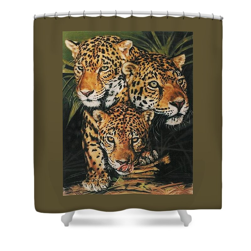 Jaguar Shower Curtain featuring the pastel Forest Jewels by Barbara Keith