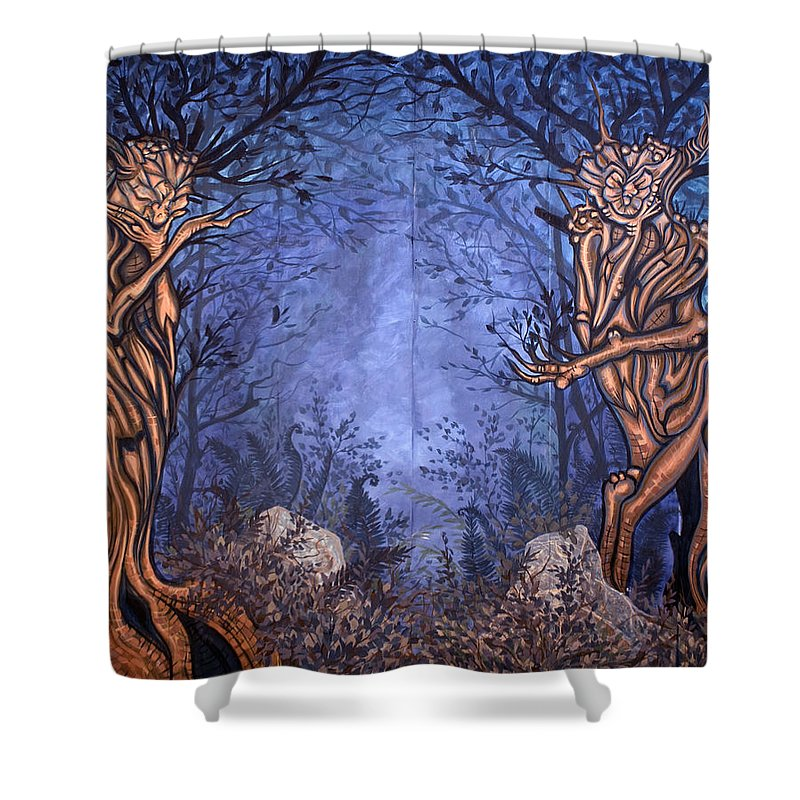 Mystic Shower Curtain featuring the painting Forest by Judy Henninger