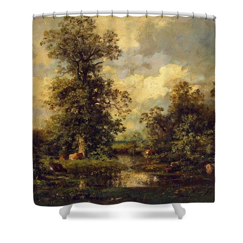 Forest Shower Curtain featuring the painting Forest Landscape 1840 by Dupre Jules