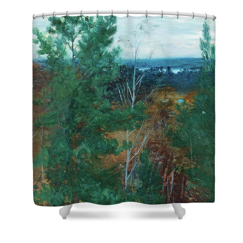 Robert Thegerstr�m Shower Curtain featuring the painting Forest Landscape by MotionAge Designs