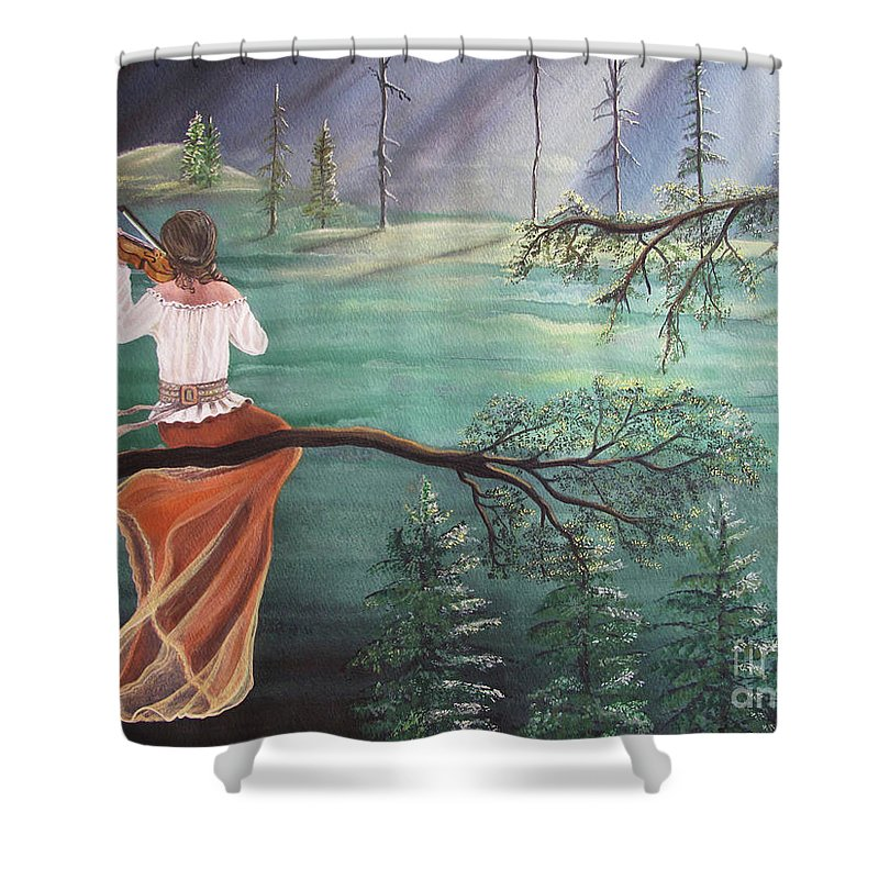 Violin Shower Curtain featuring the painting Forest Serenade by Kris Crollard