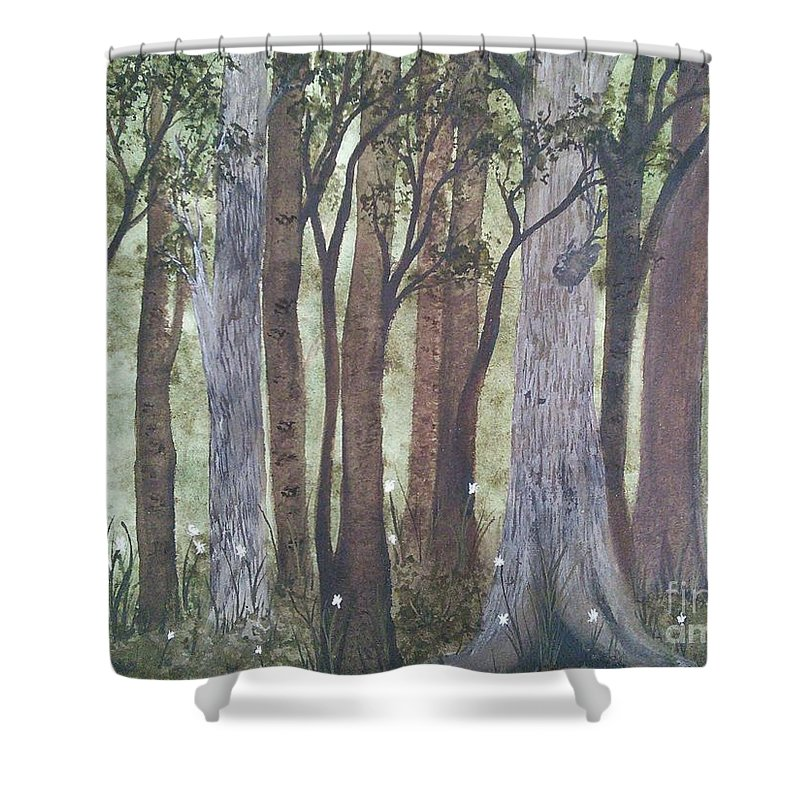 Forest Shower Curtain featuring the painting Forest Spring by Susan Nielsen