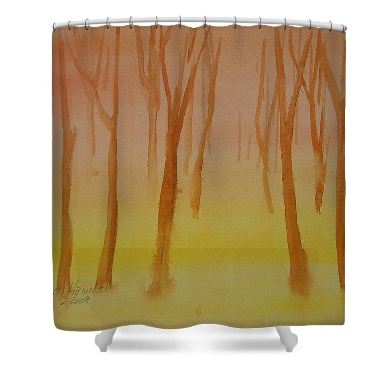 Watercolor Shower Curtain featuring the painting Forest Study by Larry Hamilton