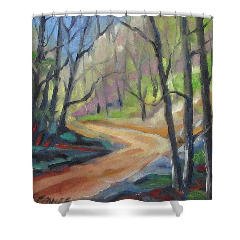 Art Shower Curtain featuring the painting Forest Way by Richard T Pranke