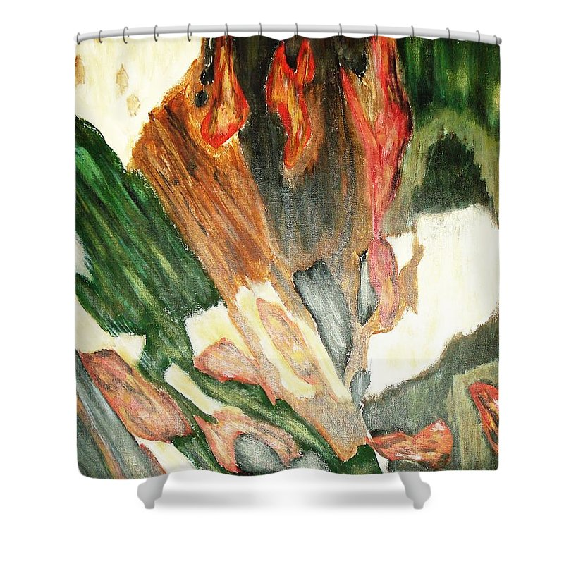 Abstract Shower Curtain featuring the painting Forest by Yael VanGruber