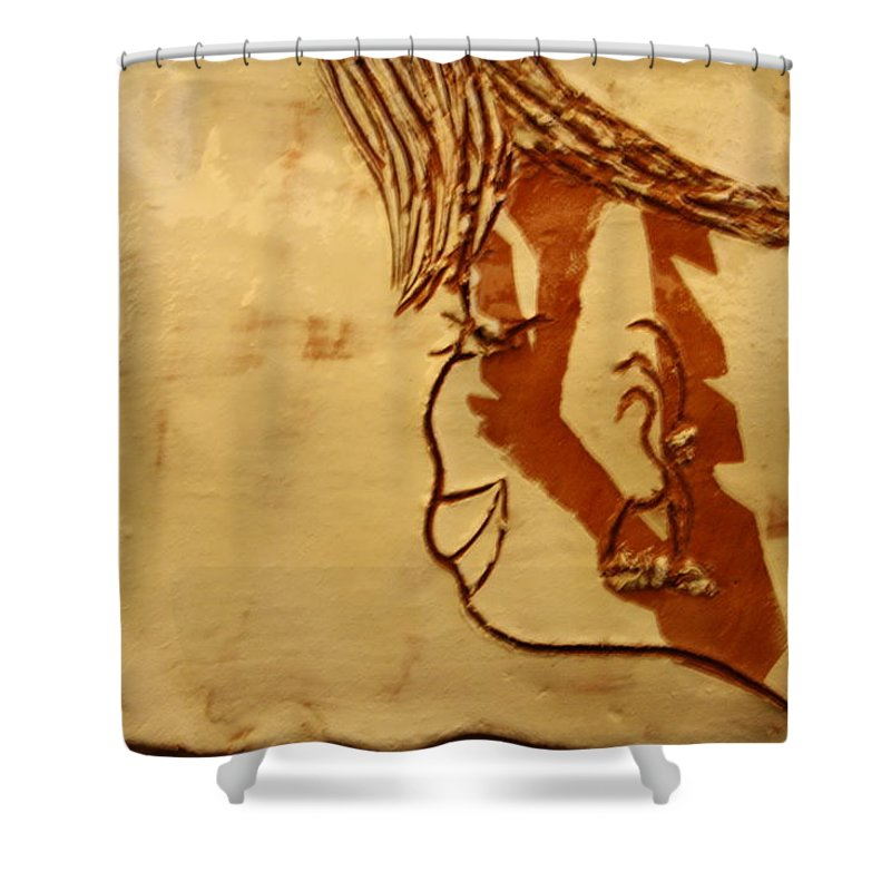 Jesus Shower Curtain featuring the ceramic art Forever Gal - Tile by Gloria Ssali