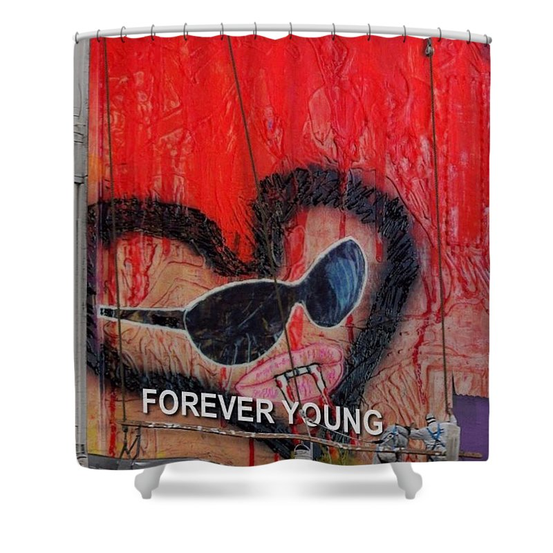 Art #artist #paint #painting #drawing #drawings #markers #paintings #watercolor #watercolour #ink #creative #sketch #sketchaday #pencil #arte #dibujo #myart #artwork #illustration #graphicdesign #graphic #color #colour Ers Shower Curtain featuring the painting Forever Young At Heart by Lisa Piper