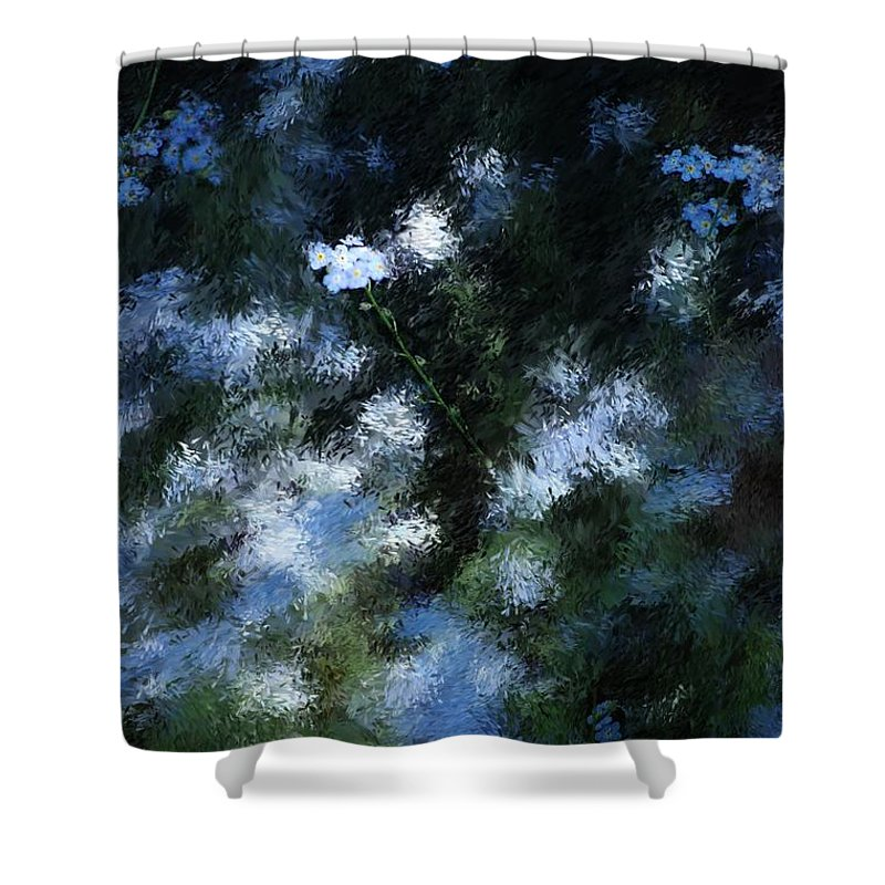 Abstract Shower Curtain featuring the digital art Forget Me Not by David Lane