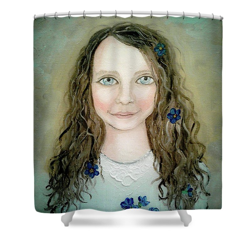 Wendy Wunstell Shower Curtain featuring the painting Forget Me Not by Wendy Wunstell