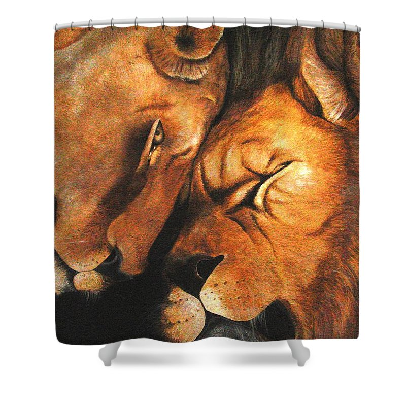Lion Shower Curtain featuring the painting Forgiven by Glory Fraulein Wolfe