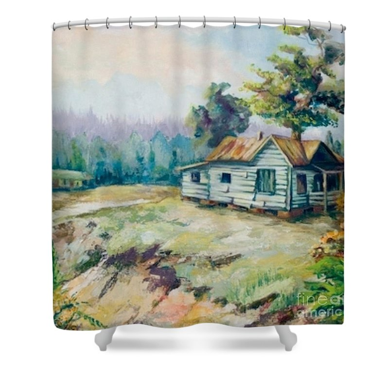 Old Houses Shower Curtain featuring the painting Forgotten Places II by Elisabeta Hermann