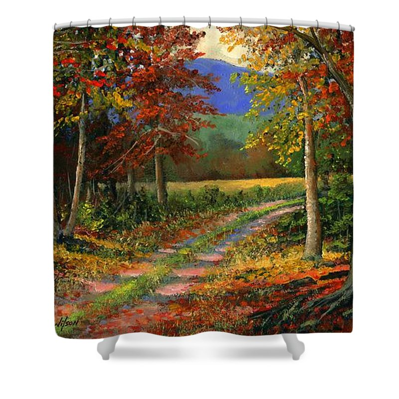 Landscape Shower Curtain featuring the painting Forgotten Road by Frank Wilson