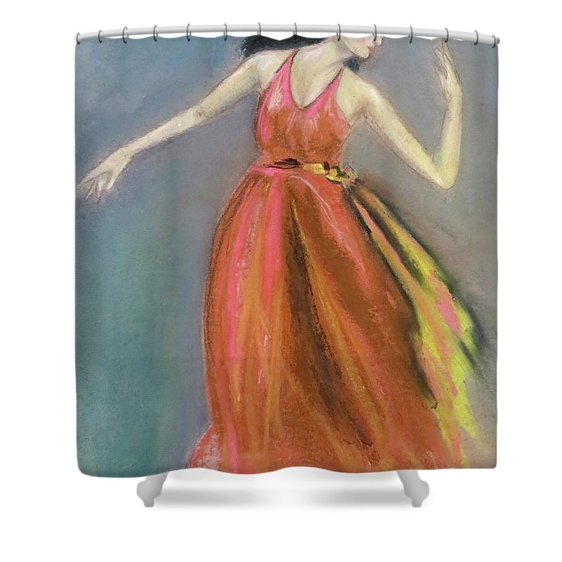 Woman Shower Curtain featuring the pastel Forgotten Steps by C Pichura