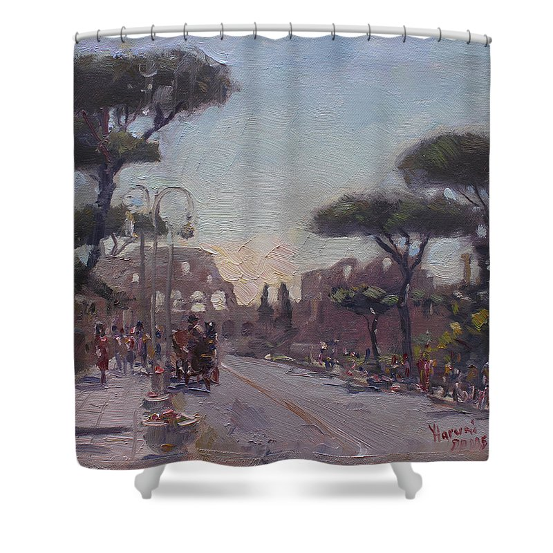 Fori Romani Shower Curtain featuring the painting Fori Romani - Street to Colosseo by Ylli Haruni