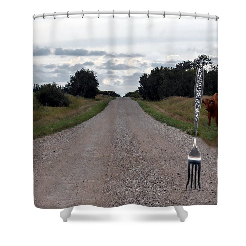 Cow Calf Fork Road Pasture Land Trees Animal Fun Shower Curtain featuring the photograph Fork In The Road by Andrea Lawrence