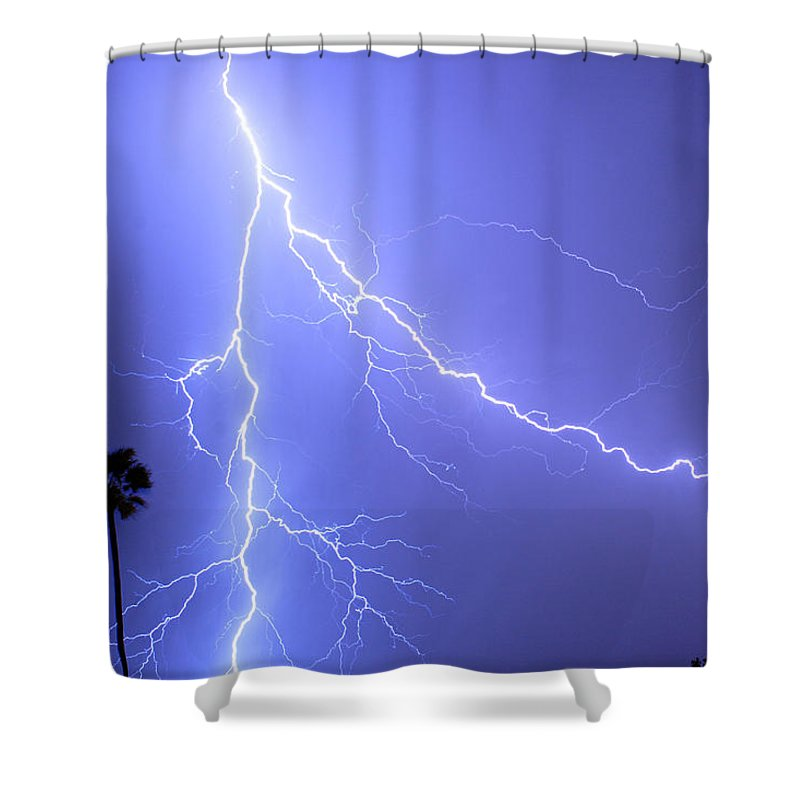 Lightning Shower Curtain featuring the photograph Fork In The Sky by James BO Insogna