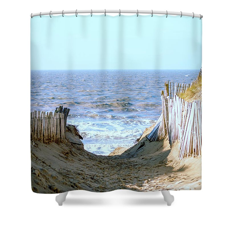 Formby Shower Curtain Featuring The Photograph Beach Pathway To Sea By Spikey Mouse Photography