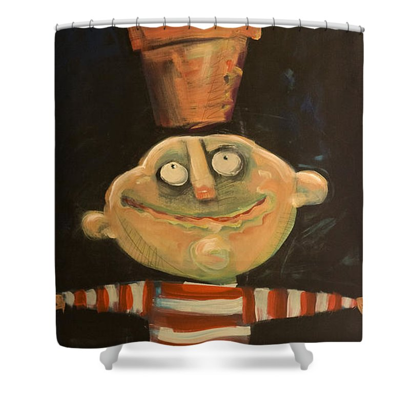 Man Shower Curtain featuring the painting Forrest The Florist by Tim Nyberg
