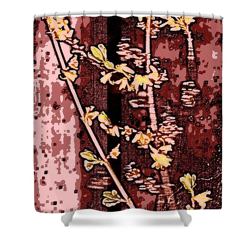 Flower Shower Curtain featuring the photograph Forsythia Branch by Wayne Potrafka