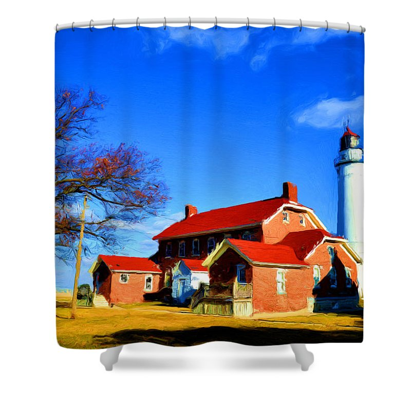 Fort Gratiot Shower Curtain featuring the painting Fort Gratiot Light by Michael Tucker