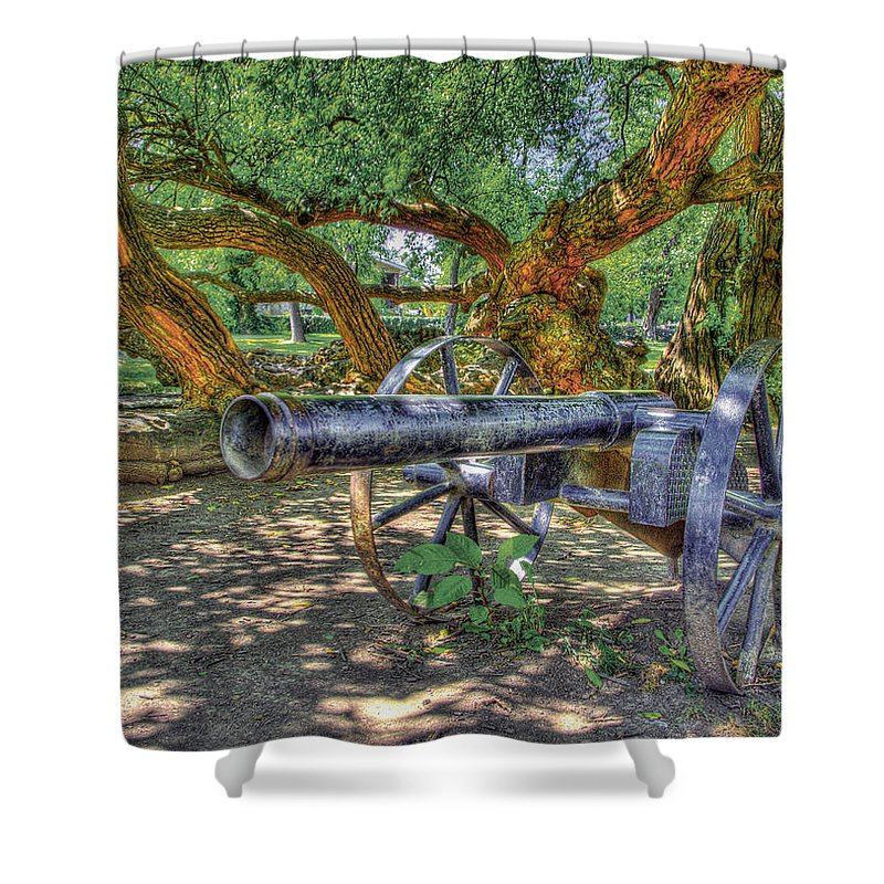 Historic Shower Curtain featuring the photograph Fort Harrod Cannon by Sam Davis Johnson