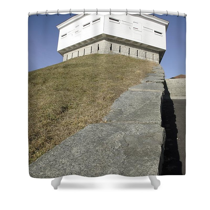 Atlantic Ocean Shower Curtain featuring the photograph Fort Mcclary - Kittery Maine Usa by Erin Paul Donovan