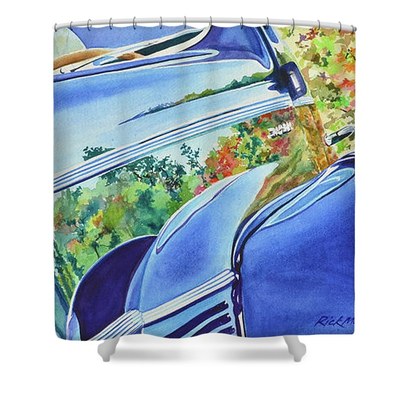 Ford Shower Curtain featuring the painting Forty Ford In Fall by Rick Mock