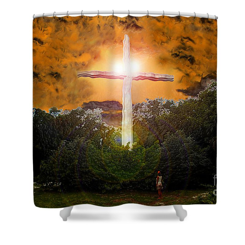 Cross Shower Curtain featuring the painting Found by David Lee Thompson