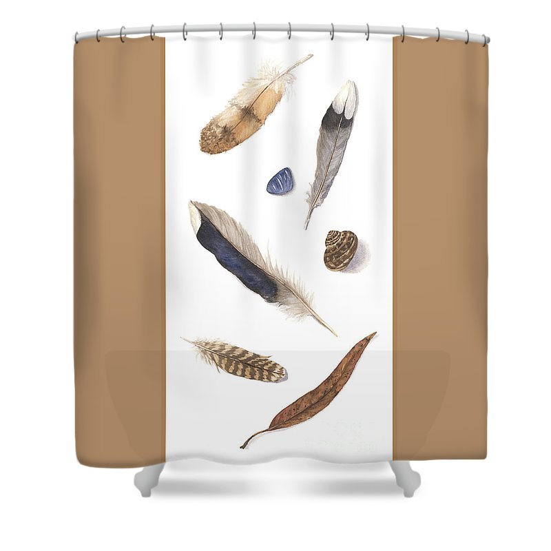 Feathers Shower Curtain featuring the painting Found Treasures by Lucy Arnold