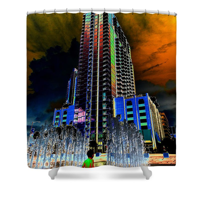 Water Fountain Shower Curtain featuring the painting Fountain Boy by David Lee Thompson