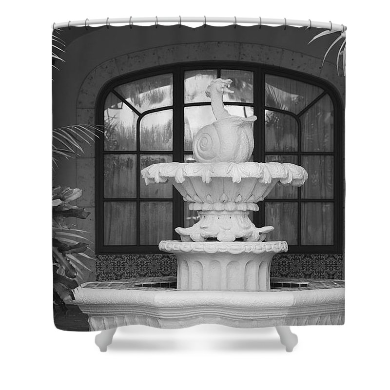 Architecture Shower Curtain featuring the photograph Fountian And Window by Rob Hans