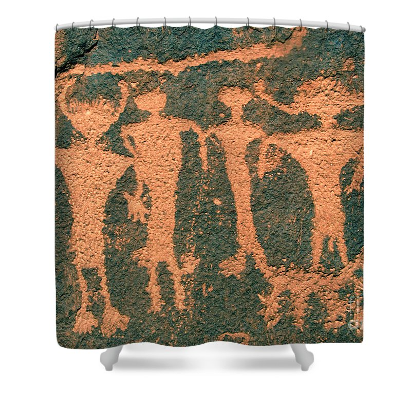 Petroglyphs Shower Curtain featuring the photograph Four Anasazi by David Lee Thompson