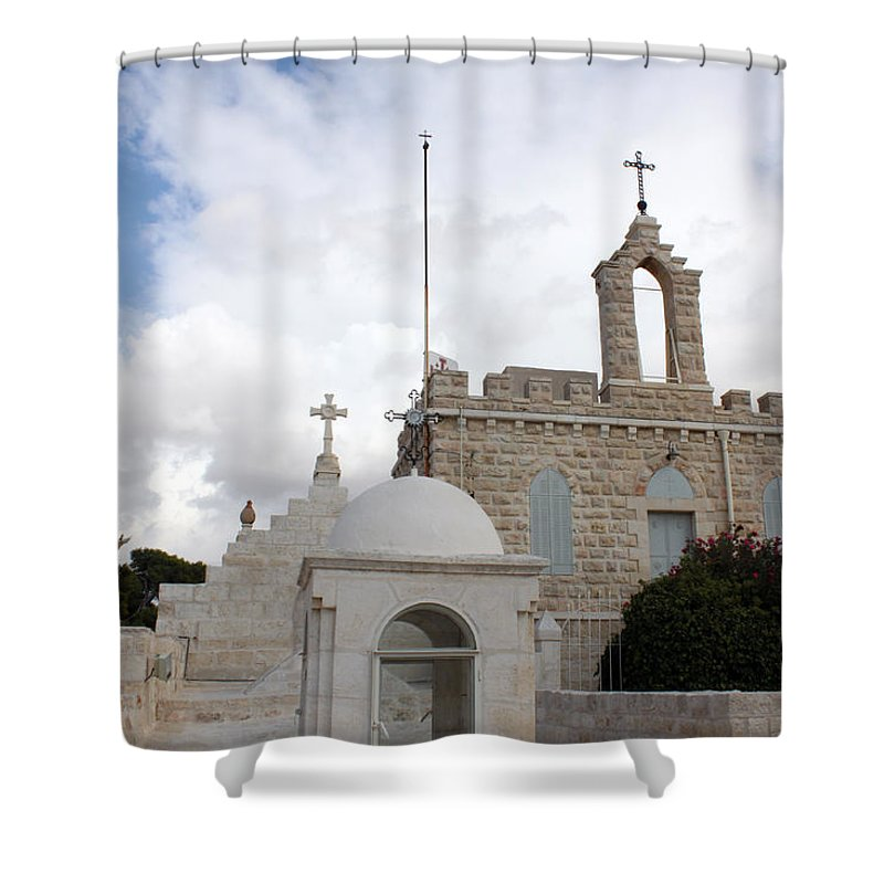 Milk Grotto Shower Curtain featuring the photograph Four Crosses by Munir Alawi