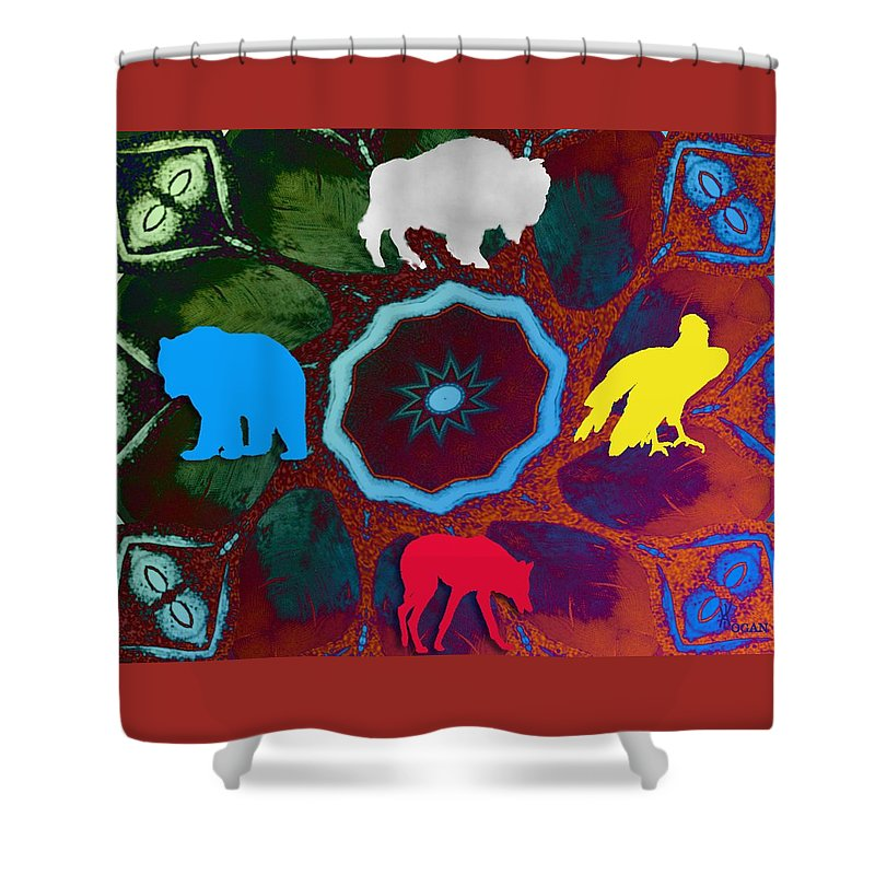 Wildlife Shower Curtain featuring the digital art Four Directions  -009 by Will Logan