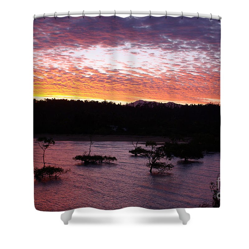 Landscape Shower Curtain featuring the photograph Four Elements Sunset Sequence 3 Coconuts Qld by Kerryn Madsen - Pietsch