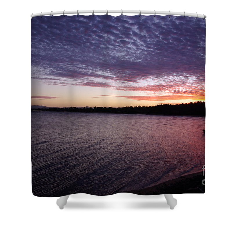 Landscape Shower Curtain featuring the photograph Four Elements Sunset Sequence 4 Coconuts Qld by Kerryn Madsen- Pietsch