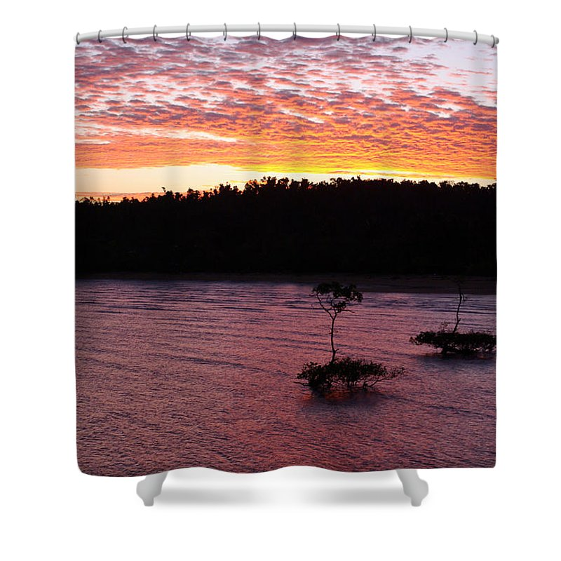 Landscape Shower Curtain featuring the photograph Four Elements Sunset Sequence 5 Coconuts Qld by Kerryn Madsen - Pietsch