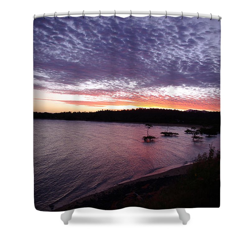 Landscape Shower Curtain featuring the photograph Four Elements Sunset Sequence 6 Coconuts Qld by Kerryn Madsen-Pietsch