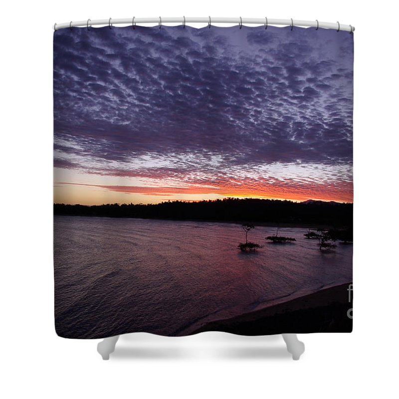 Landscape Shower Curtain featuring the photograph Four Elements Sunset Sequence 7 Coconuts Qld by Kerryn Madsen - Pietsch